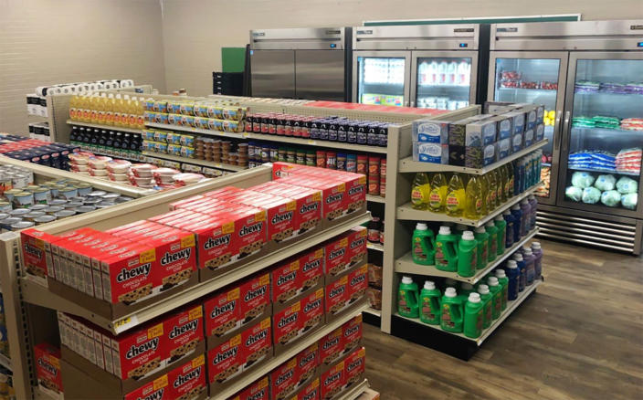 A student-run grocery store offers free groceries to students in need at Linda Tutt High School in Sanger, Texas. (Courtesy Anthony Love / Linda Tutt High School)