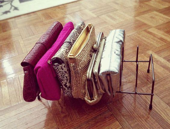"""<p>A wire file holder isn't just for keeping your office neat and tidy. It can neatly organize your fun handbags while helping them keep their shape.</p><p><a href=""""http://fabulousfashions4sensiblestyle.blogspot.com/2013/04/get-crafty-diy-clutch-organizer-using.html"""" rel=""""nofollow noopener"""" target=""""_blank"""" data-ylk=""""slk:See more at Fabulous Fashions 4 Sensible Style »"""" class=""""link rapid-noclick-resp""""><em>See more at Fabulous Fashions 4 Sensible Style »</em></a></p>"""