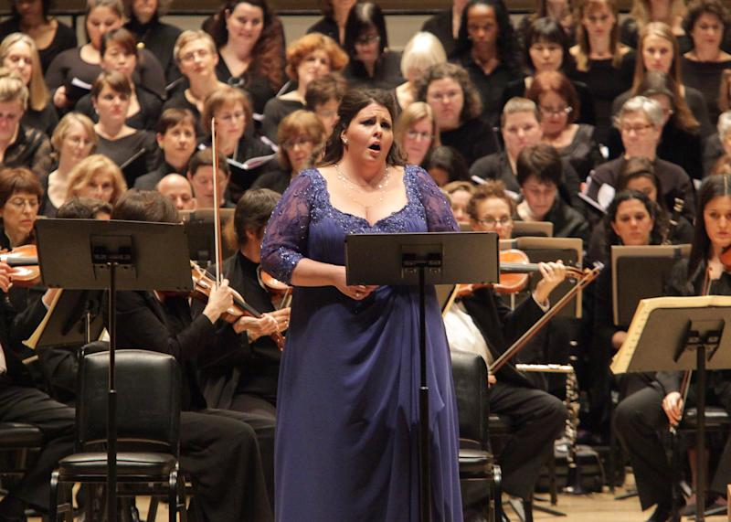 """In this Dec. 5, 2012 photo provided by Carnegie Hall, Angela Meade performs Bellini's """"Beatrice di Tenda"""" at Carnegie Hall in New York. James Bagwell conducted the Collegiate Chorale and the American Symphony Orchestra in the seldom-performed work. (AP Photo/Carnegie Hall, Erin Baiano)"""