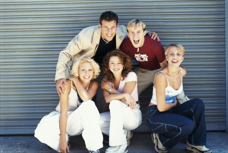 British pop group Steps, circa 1998. Clockwise, from top left, Lee Latchford-Evans, H (Ian Watkins), Claire Richards, Lisa Scott-Lee and Faye Tozer. (Photo by Tim Roney/Getty Images)