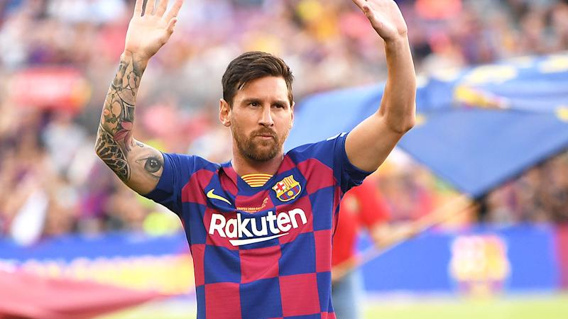 Messi is seen here saluting fans during a match for Barcelona.