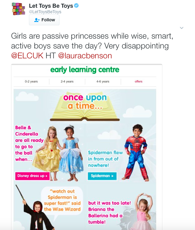 Campaign Let Toys Be Toys have also expressed their disappointment at the advert [Photo: Twitter/@LetToysBeToys]