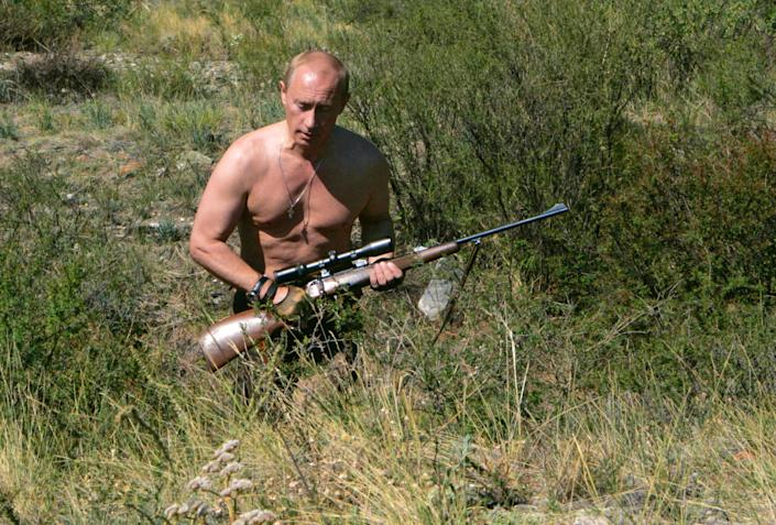 Putin goes hunting -- topless -- in the Ubsunur Hollow in Siberia, Russia, in Sept. 2010.