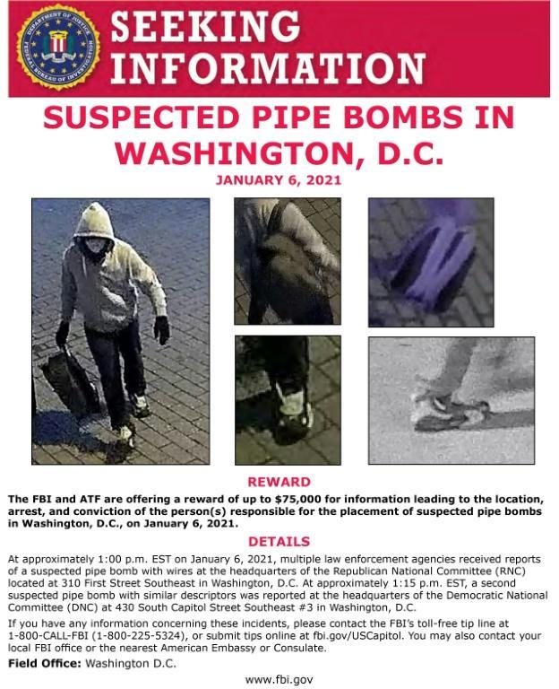 An FBI poster advertises a $75,000 reward for the capture of a person or persons who planted pipe bombs near the US Capitol on January 6