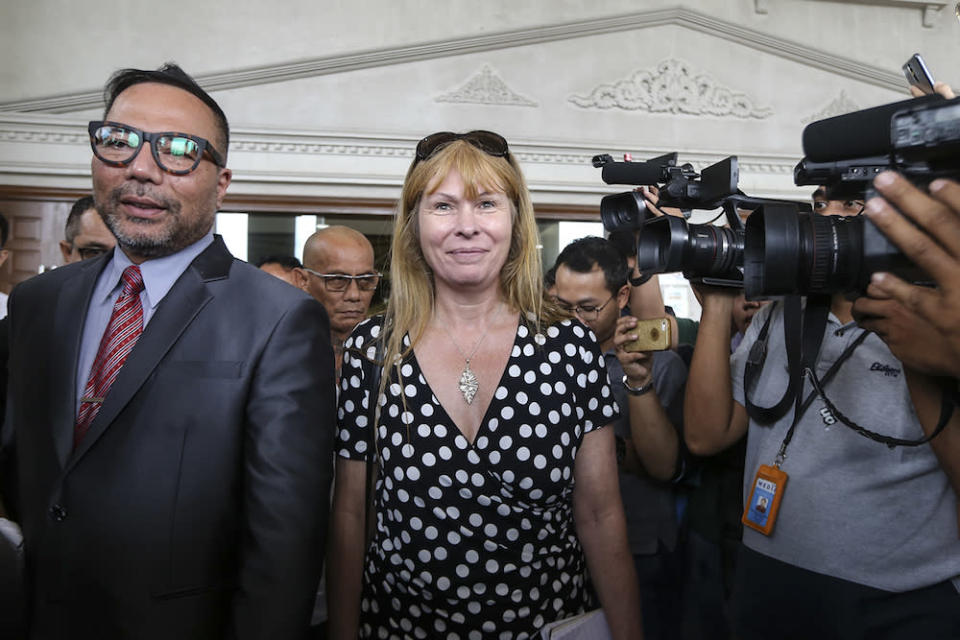 Editor of Sarawak Report, Clare Rewcastle-Brown, leaves the High Court in Kuala Lumpur August 10, 2018. — Picture by Azneal Ishak