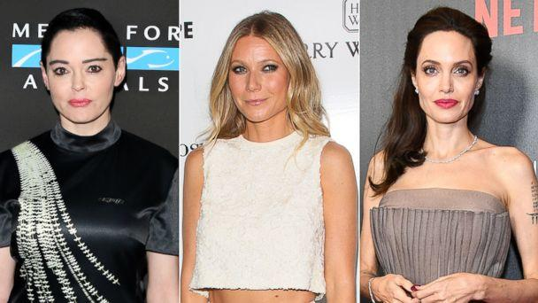 PHOTO: Rose McGowan, Sept. 23, 2017, in Los Angeles | Gwyneth Paltrow, May 6, 2017, in Culver City, Calif. | Angelina Jolie, Sept. 14, 2017, in New York City. (Getty Images)
