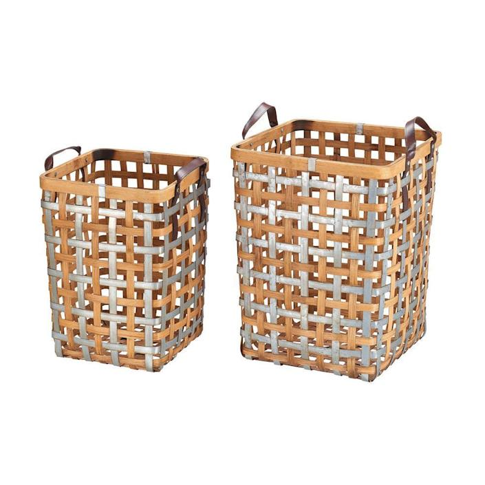 Home Decorators Collection Square Galvanized Metal and Natural Bamboo Woven Decorative Basket with Handles