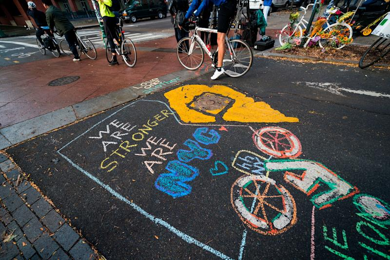 A chalked message on the bike path pays tribute to the victims of the Oct. 31 attack in lower Manhattan.