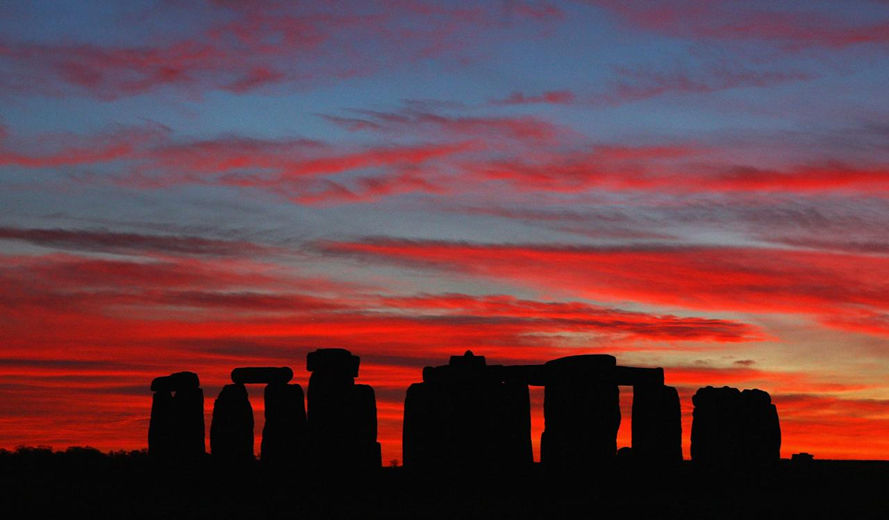 STONEHENGE, UNITED KINGDOM - NOVEMBER 20:  A dramatic sunset acts as a backdrop to Stonehenge on November 20, 2008 in Stonehenge, England.  (Photo by Mike Hewitt/Getty Images)