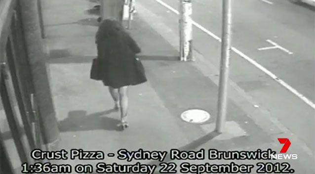 Ms Meagher was seen walking ahead of Bayley. Source: 7 News