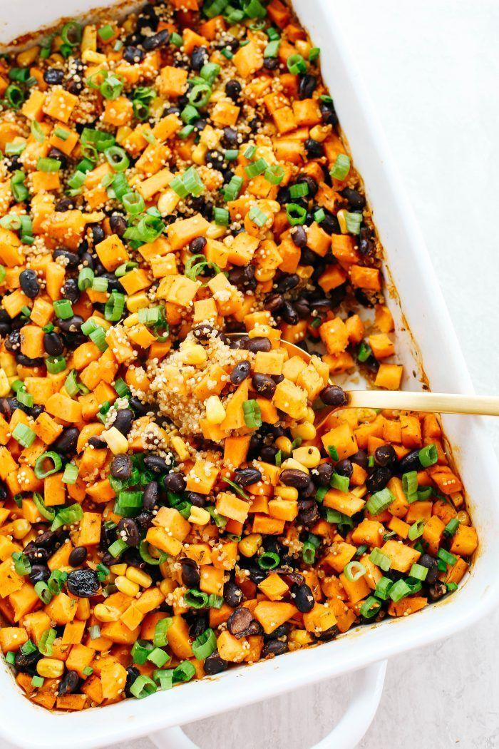 """<p>Upgrade Taco Tuesday with a fall-friendly casserole, which packs such a flavorful punch that you'll be back for second helpings in no time. </p><p><strong>Get the recipe at <a href=""""https://www.eatyourselfskinny.com/sweet-potato-black-bean-quinoa-bake/"""" rel=""""nofollow noopener"""" target=""""_blank"""" data-ylk=""""slk:Eat Yourself Skinny"""" class=""""link rapid-noclick-resp"""">Eat Yourself Skinny</a>.</strong></p><p><strong><a class=""""link rapid-noclick-resp"""" href=""""https://www.amazon.com/Pyrex-Basics-Oblong-Plastic-8-9inch/dp/B01IUKIPYY/?tag=syn-yahoo-20&ascsubtag=%5Bartid%7C10050.g.877%5Bsrc%7Cyahoo-us"""" rel=""""nofollow noopener"""" target=""""_blank"""" data-ylk=""""slk:SHOP BAKING DISHES"""">SHOP BAKING DISHES</a><br></strong></p>"""