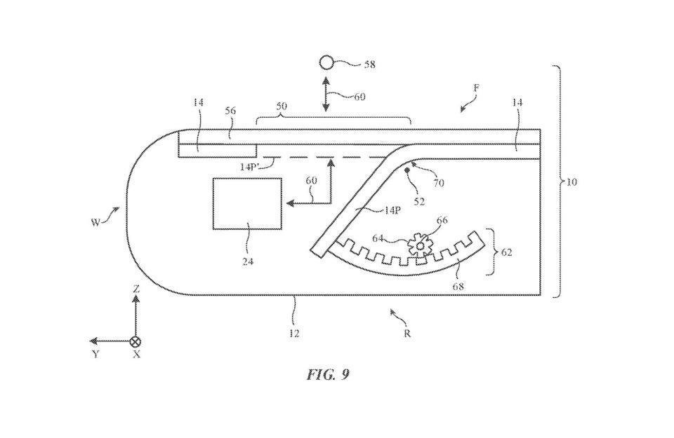 Display (14) features a window (50) under a transparent panel (56). A display portion (14P) opens and closes to let light pass between an object (58) and a sensor (24). - Credit: Apple via USPTO