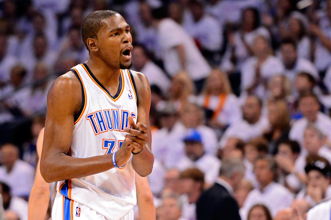 OKLAHOMA CITY, OK - JUNE 06:  Kevin Durant #35 of the Oklahoma City Thunder reacts against the San Antonio Spurs in Game Six of the Western Conference Finals of the 2012 NBA Playoffs at Chesapeake Energy Arena on June 6, 2012 in Oklahoma City, Oklahoma. NOTE TO USER: User expressly acknowledges and agrees that, by downloading and or using this photograph, User is consenting to the terms and conditions of the Getty Images License Agreement.  (Photo by Ronald Martinez/Getty Images)