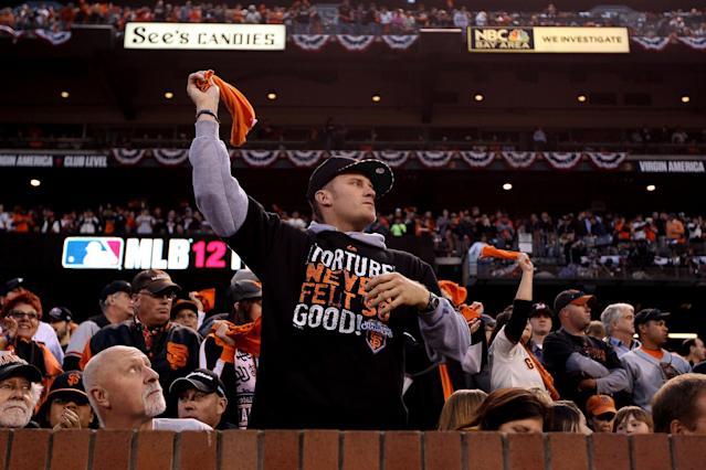 SAN FRANCISCO, CA - OCTOBER 24: Fans cheer during Game One between the San Francisco Giants and the Detroit Tigers in the Major League Baseball World Series at AT&T Park on October 24, 2012 in San Francisco, California. (Photo by Christian Petersen/Getty Images)