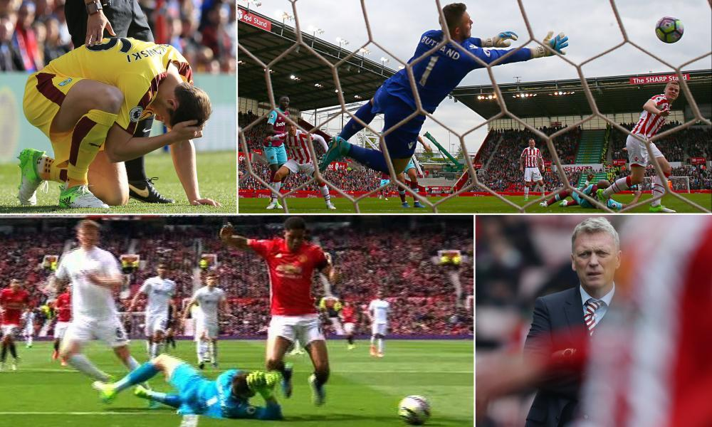 Clockwise from top left: Burnley's James Tarkowski is hit by an object thrown from the crowd, Jack Butland makes another save, Marcus Rashford goes to ground, and Sunderland manager David Moyes.