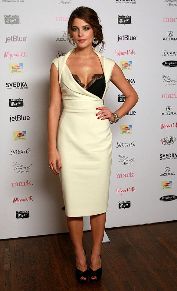 """Ashley Greene may not be getting a pay hike for her role in the fourth """"Twilight"""" film, """"Breaking Dawn,"""" but she looked like a million bucks at the 12th annual Young Hollywood Awards in this cream-colored Antonio Berardi beauty. Michael Bezjian/<a href=""""http://www.wireimage.com"""" target=""""new"""">WireImage.com</a> - May 13, 2010"""