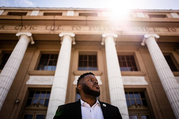 """Mayor Michael Tubbs in front of City Hall in downtown Stockton. <span class=""""copyright"""">(Max Whittaker / For The Times)</span>"""