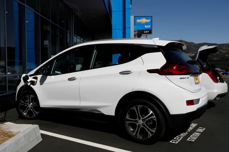 FILE PHOTO: A Chevrolet Bolt electric vehicle is seen at Stewart Chevrolet in Colma, California