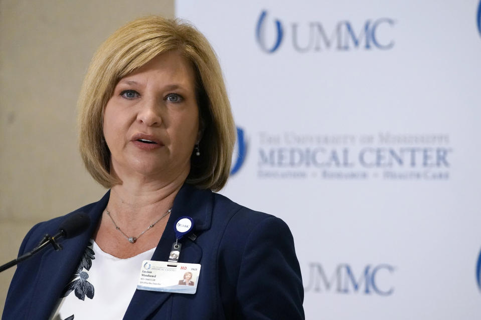 Dr. LouAnn Woodward, vice chancellor for health affairs and dean of the School of Medicine at the University of Mississippi Medical School, outlines the new COVID-19 vaccination policy that encourages all employees, students and anyone who works or learns in a UMMC facility or clinic to get fully vaccinated, or wear a N95 mask at all times, Friday, July 16, 2021, during a news conference in Jackson, Miss. (AP Photo/Rogelio V. Solis)