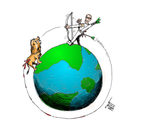 "<p>Artist Kaveh Adel, a ""cartoonist by night, dentist by day"" (though not the type of dentist who hunts for sport, apparently) posted his drawing, ""Cecil the Lion Karma"" via <a href=""http://kavehadel.com/blog/2015/07/cartoon-cecil-the-lion-karma-by-kaveh-adel-iranian-american-cartoonist/"" rel=""nofollow noopener"" target=""_blank"" data-ylk=""slk:his blog"" class=""link rapid-noclick-resp"">his blog</a> and <a href=""https://instagram.com/knadel/"" rel=""nofollow noopener"" target=""_blank"" data-ylk=""slk:Instagram"" class=""link rapid-noclick-resp"">Instagram</a>. ""The hunter became the hunted,"" he writes. (Credit: <a href=""https://instagram.com/knadel/"" rel=""nofollow noopener"" target=""_blank"" data-ylk=""slk:Instagram/knadel"" class=""link rapid-noclick-resp"">Instagram/knadel</a>)</p>"