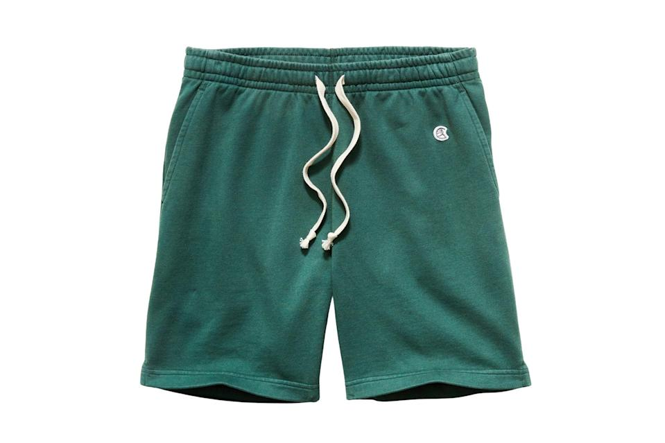 """<p>That said, just because we can go out and enjoy the nice weather doesn't mean we have to swap our sweats for """"real pants"""".</p> <p><em>Todd Snyder x Champion 7"""" midweight warm up short</em></p> $88, Todd Snyder. <a href=""""https://www.toddsnyder.com/collections/todd-snyder-champion-sweatpants-shorts/products/warm-up-short-hunt-club"""" rel=""""nofollow noopener"""" target=""""_blank"""" data-ylk=""""slk:Get it now!"""" class=""""link rapid-noclick-resp"""">Get it now!</a>"""