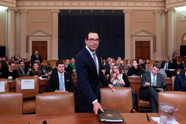 PHOTO: Treasury Secretary Steven Mnuchin prepares to testify on 'The President's FY2020 Budget Proposal' before the House Ways and Means Committee on Capitol Hill in Washington, D.C, March 14, 2019. (Jim Watson/AFP/Getty Images)