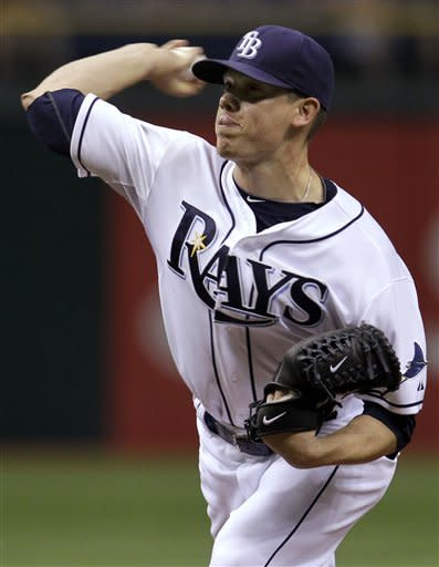 Tampa Bay Rays starting pitcher Jeremy Hellickson delivers to the Los Angeles Angels during the first inning of a baseball game, Wednesday, April 25, 2012, in St. Petersburg, Fla. (AP Photo/Chris O'Meara)