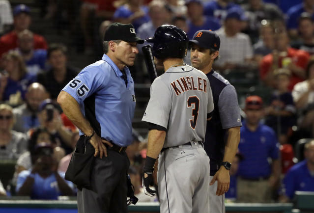 Ian Kinsler had some hot takes about umpire Angel Hernandez. (AP Photo/Tony Gutierrez)