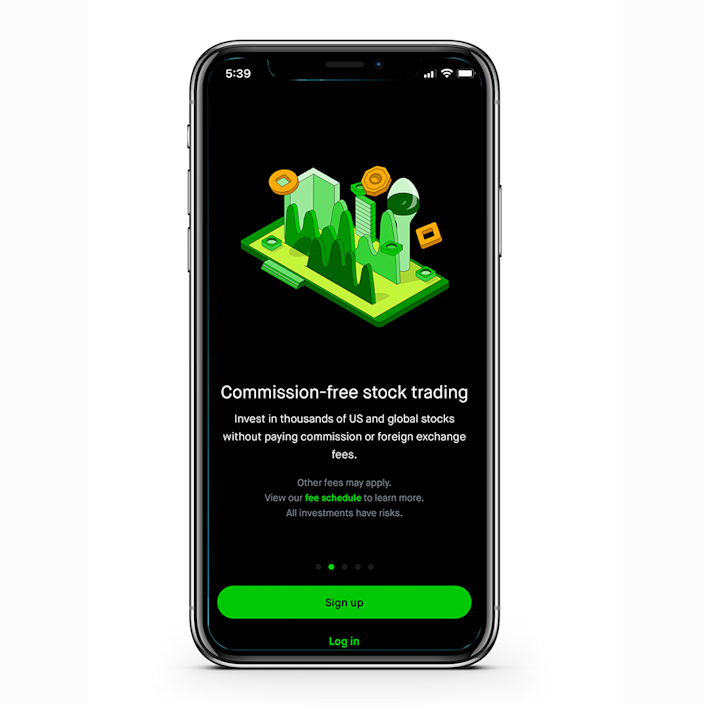 """<p>Like Acorns, <a href=""""https://robinhood.com/us/en/"""" rel=""""nofollow noopener"""" target=""""_blank"""" data-ylk=""""slk:Robinhood"""" class=""""link rapid-noclick-resp"""">Robinhood</a> is an app that allows you to invest your money easily. One of their main selling points is that users can invest and trade without paying commissions or fees. Another unique feature is that it allows you to trade cryptocurrencies, which is something that most other investing apps don't offer. </p>"""