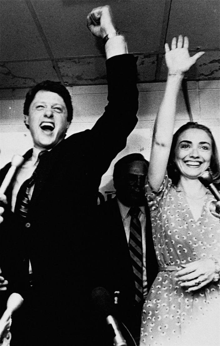 <p>Hillary and former Gov. Bill Clinton celebrate his victory in the Democratic runoff in June 1982 in Little Rock, Ark. Clinton defeated former Lt. Gov. Joe Purcell. (Photo: AP)</p>