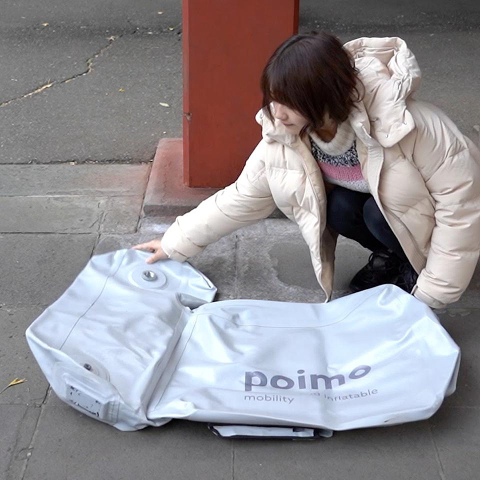 When not in use, the Poimo scooter can easily be deflated and stored in your backpack.