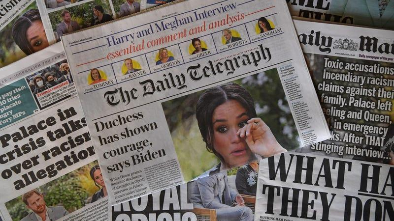 An arrangement of UK daily newspapers photographed as an illustration on March 9, 2021.