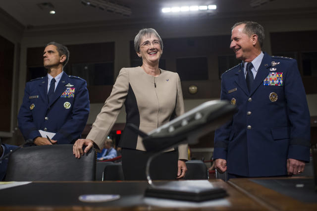 "<span class=""s1"">Air Force brass Heather Wilson, center, and Gen. David L. Goldfein, right, prepare for a hearing on on the Defense Authorization Request for Fiscal Year 2018 and the Future Years Defense Program in June 2017. (Photo: Tom Williams/CQ Roll Call)</span>"