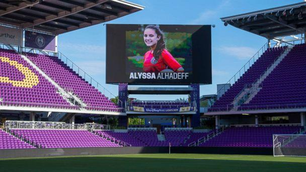 Alyssa Alhadeff appears on the jumbotron at the US Women's National Team Training at Orlando City Stadium