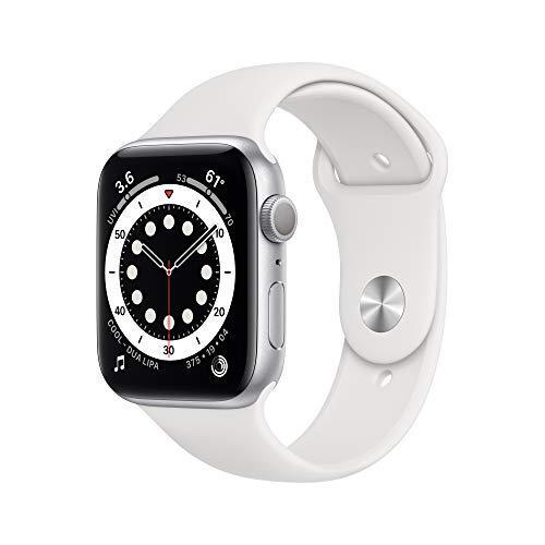 New AppleWatch Series 6 (GPS, 44mm) - Silver Aluminum Case with White Sport Band