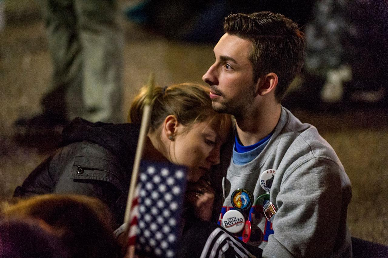 <p>Clinton supporters, American University students and first time voters, Laurel Clark, 18 and Neco Milillo, 18, watch election returns in front of the White House on November 8, 2016. (Photo: Mary F. Calvert for Yahoo News) </p>