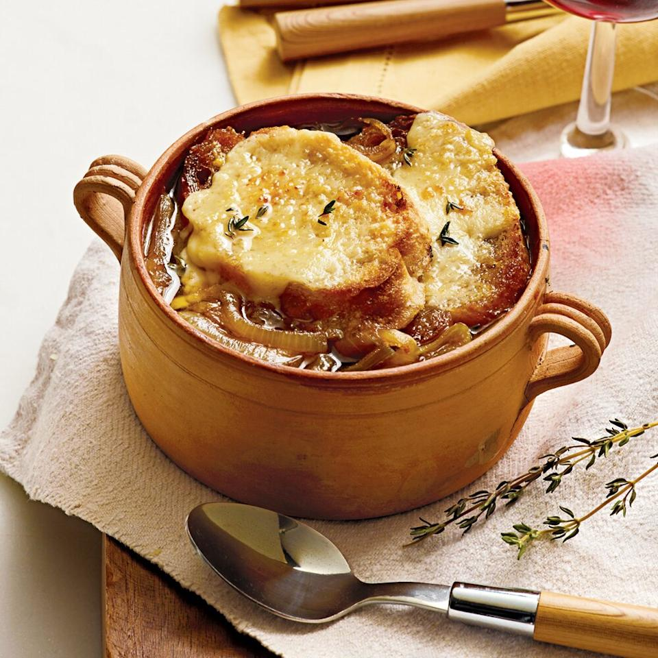 """<p>This slow cooker french onion soup is so easy and delicious, you'll never return to your stovetop ways. The slow cooker completely eliminates the stirring element of caramelizing onions. After hours in the low heat, the sliced onions will become soft and jammy with a rich, dark brown coloring—no attention necessary. Although you'll need to start this soup the morning of, you'll gain nine hours of enticing aromas that will warm your kitchen on a chilly winter day. If you don't plan to eat it all, freeze the bag of soup in a bowl rather than laying it flat, so it will fit in the saucepan when it's time to thaw. Get ready for this slow cooker french onion soup to be the most requested dish in your house.</p> <p><a href=""""https://www.myrecipes.com/recipe/slow-cooker-french-onion-soup"""">Slow Cooker French Onion Soup Recipe</a></p>"""