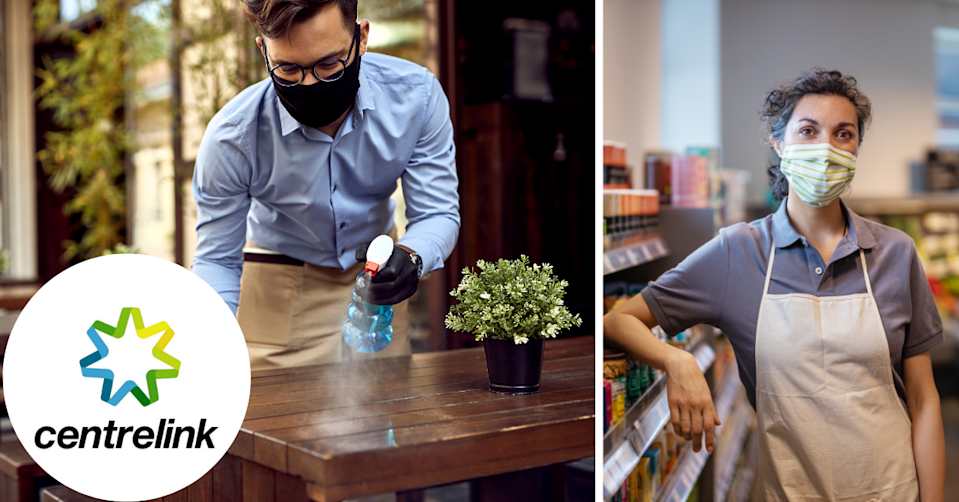 Two workers wearing masks, one cleaning a table in a restaurant and the other leaning on the shelves on a grocery store.