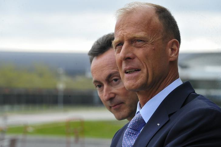 Fabrice Bregier, Airbus President and Chief Executive Officer and Tom Enders, Chief Executive Officer of Airbus Group, wait for Indian Prime Minister at the Airbus headquarters in Toulouse