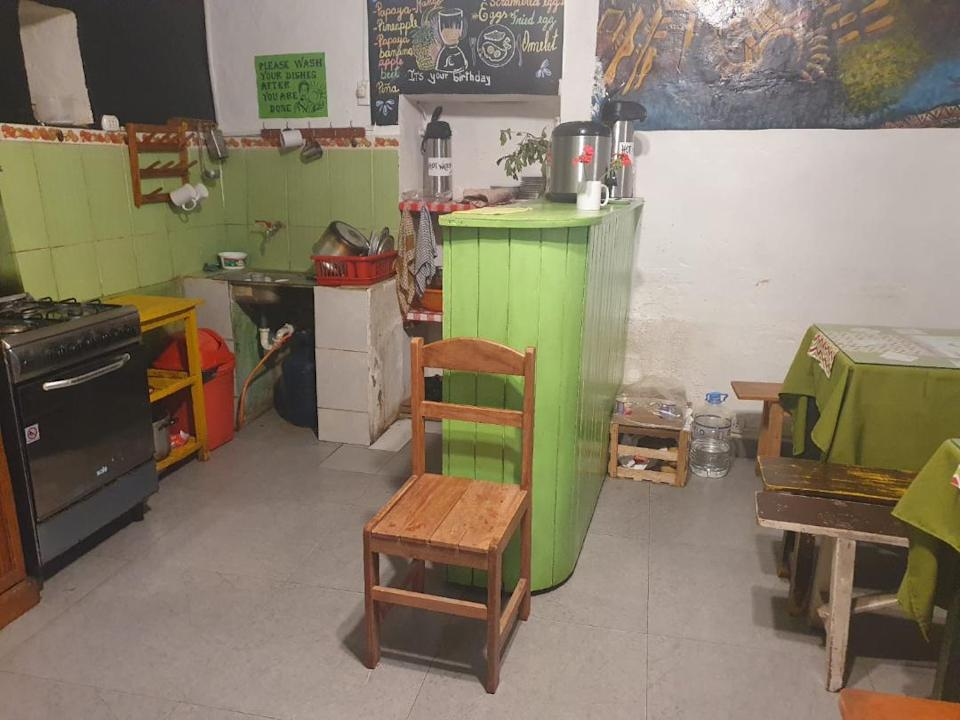 The hostel kitchen where Steff Kidd is isolated. Her family are campaigning for the Foreign Office to bring her home.