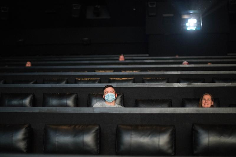 Socially distanced film fans at the Showcase Cinema, Bluewater, in July 2020. (Photo by Stefan Rousseau/PA Images via Getty Images)