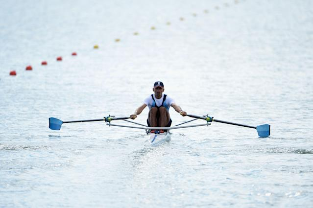 WINDSOR, ENGLAND - JULY 29: Sawarn Singh of India competes in the Men's Single Sculls repechage on Day 2 of the London 2012 Olympic Games at Eton Dorney on July 29, 2012 in Windsor, England. (Photo by Harry How/Getty Images)