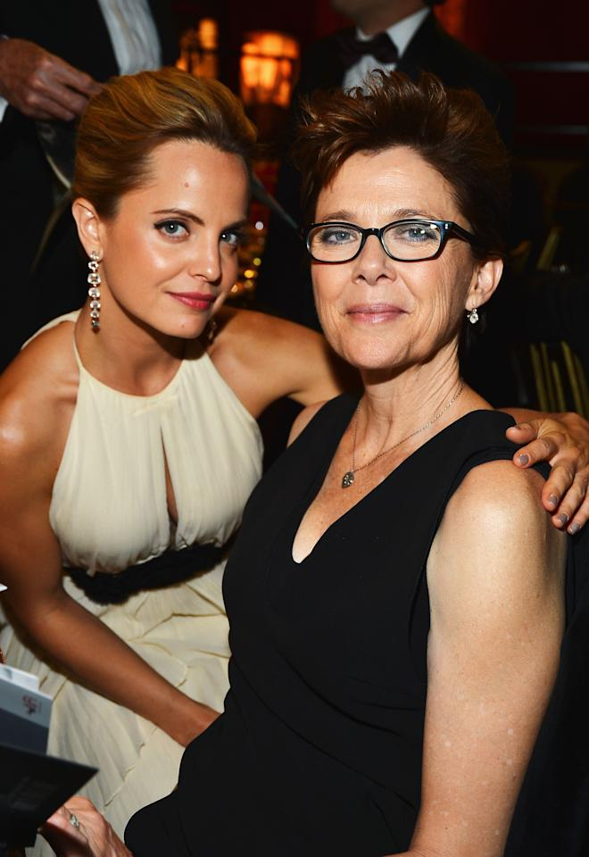 CULVER CITY, CA - JUNE 07:  Actresses Mena Suvari (L) and Annette Bening attend the 40th AFI Life Achievement Award honoring Shirley MacLaine held at Sony Pictures Studios on June 7, 2012 in Culver City, California. The AFI Life Achievement Award tribute to Shirley MacLaine will premiere on TV Land on Saturday, June 24 at 9PM ET/PST.  (Photo by Frazer Harrison/Getty Images for AFI)