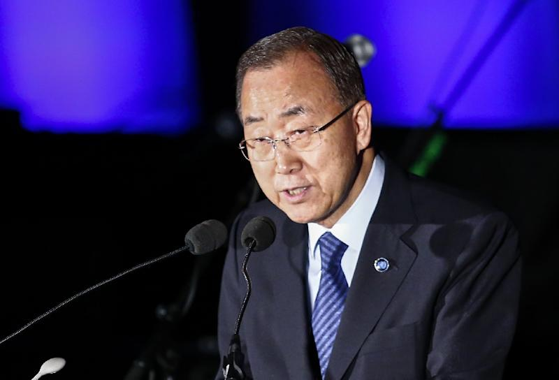 UN Secretary-General, Ban Ki-moon, speaks during the commemoration of 2015 World Humanitarian Day, at the UN headquarters in New York, on August 18, 2015 (AFP Photo/Kena Betancur)