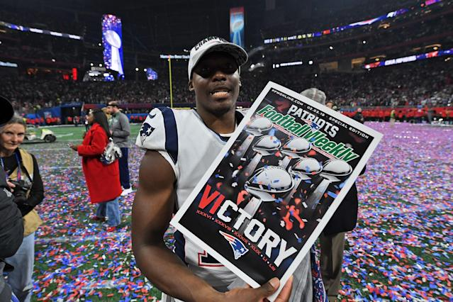 <p>Wide receiver for the New England Patriots Phillip Dorsett celebrates after winning Super Bowl LIII against the Los Angeles Rams at Mercedes-Benz Stadium in Atlanta, Georgia, on February 3, 2019. (Photo by TIMOTHY A. CLARY / AFP) </p>
