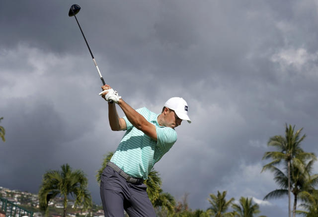 Jordan Spieth hits from the 10th tee during the second round of the Sony Open PGA Tour golf event, Friday, Jan. 11, 2019, at Waialae Country Club in Honolulu. (AP Photo/Matt York)
