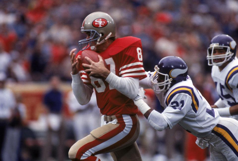 """Former San Francisco 49ers wide receiver Dwight Clark, who died last month after a battle with ALS, was buried next to the goal post from """"The Catch"""" — his iconic catch in the 1981 NFC Championship game to beat the Dallas Cowboys. (Getty Images)"""