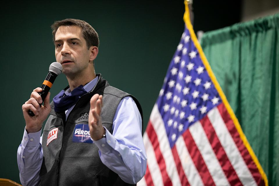 "Sen. Tom Cotton (R-AR) speaks to the crowd during a ""Defend the Majority"" rally for Sens. Kelly Loeffler (R-GA) and David Purdue (R-GA) on November 19, 2020 in Perry, Georgia. (Photo by Jessica McGowan/Getty Images)"