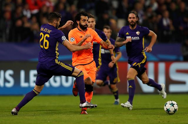 Soccer Football - Champions League - Maribor vs Liverpool - Ljudski vrt, Maribor, Slovenia - October 17, 2017 Liverpool's Mohamed Salah in action with NK Maribor's Aleksandar Rajcevic Action Images via Reuters/Paul Childs