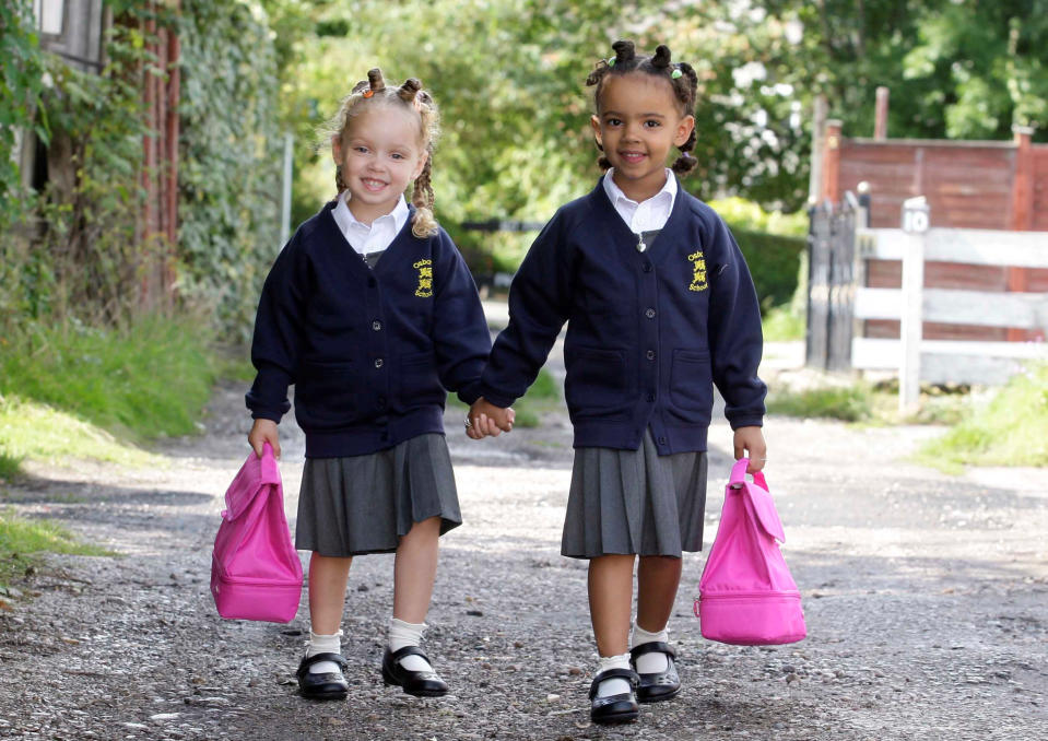 <em>Excited – both girls can't wait to start secondary school</em>